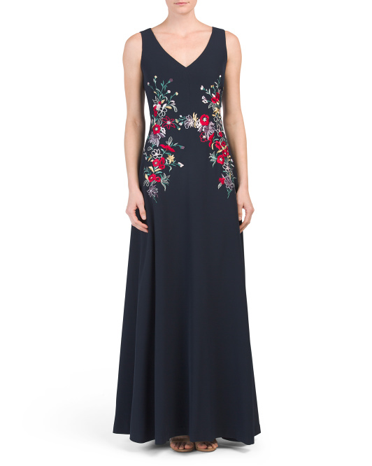 Sleeveless Floral Embroidered Gown