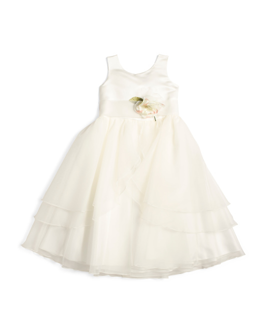 Little Girls Satin And Tulle Tiered Flower Girl Dress
