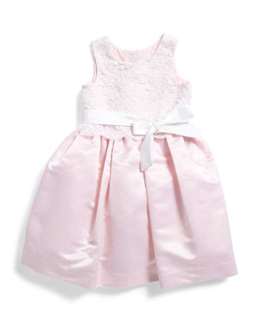 Toddler Girls Lace Satin Flower Girl Dress