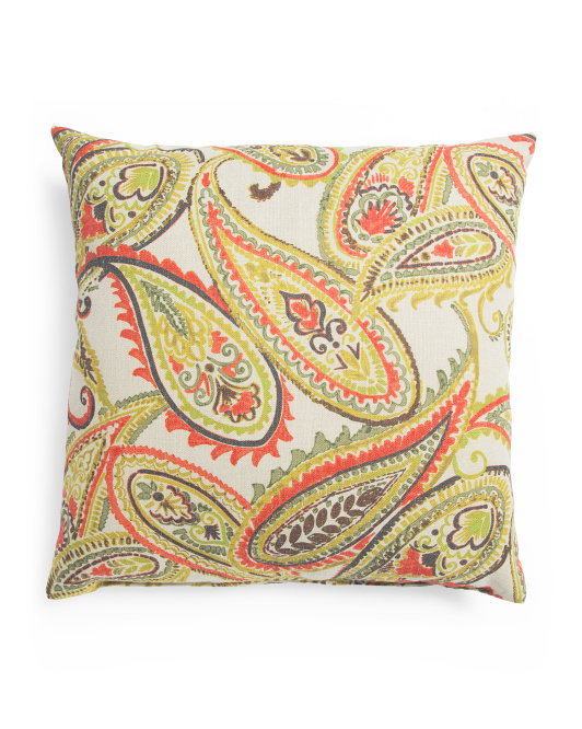 Made In USA 22x22 Linen Paisley Pillow