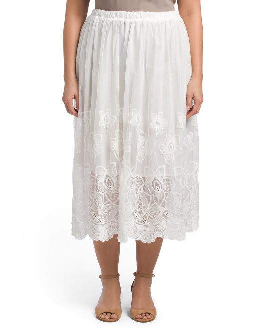 Plus Embroidered Midi Skirt