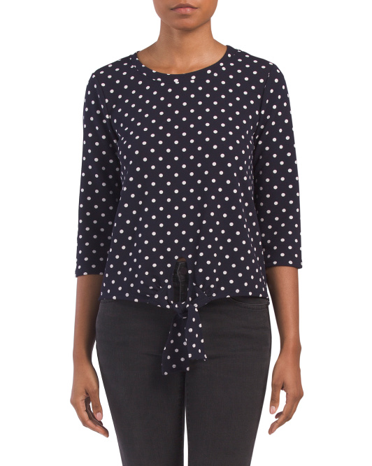 Made In USA Tie Front Polka Dot Top