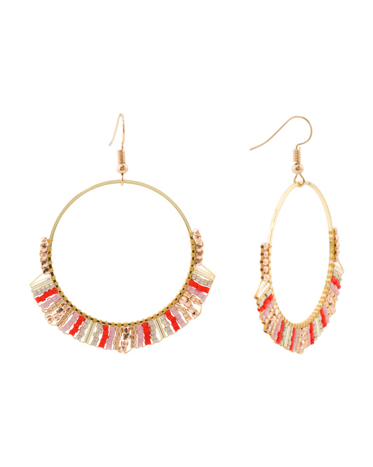 Beaded Frontal Hoop Earrings