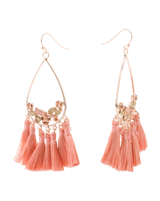 Crystal And Fringe Statement Earrings