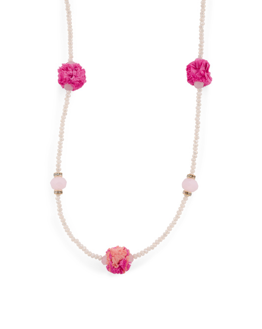 Shades Of Pink Long Beaded Pom Pom Necklace