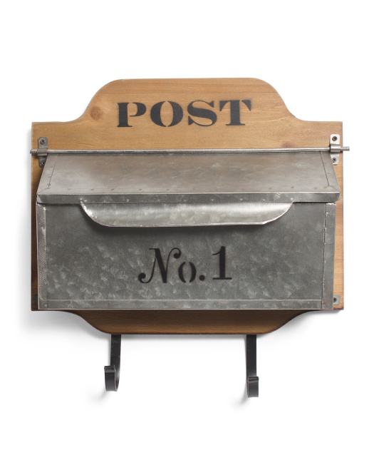 Wood & Metal Wall Mail Box With Hooks