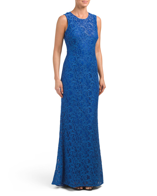 Sequin Lace Gown With Keyhole Back