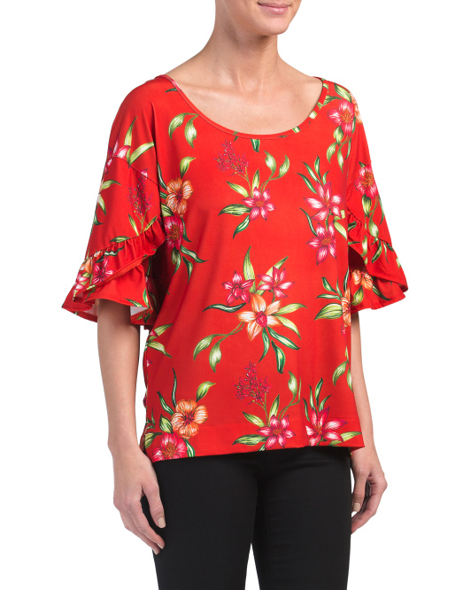 Printed Ruffle Sleeve Top