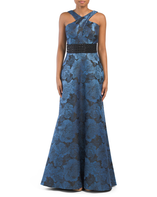 Jacquard Cross Over Halter Front Gown