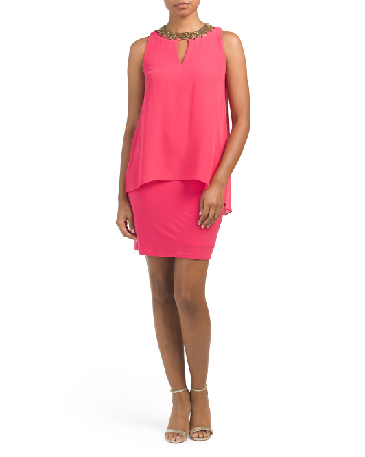 Jersey Dress Wth Chiffon Overlay