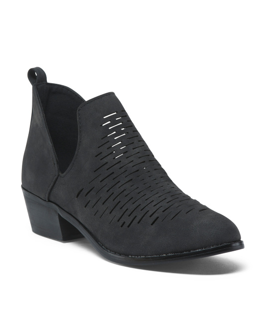 Cutout Perforated Ankle Booties