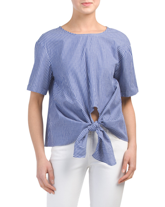 Juniors Tie Front Striped Top