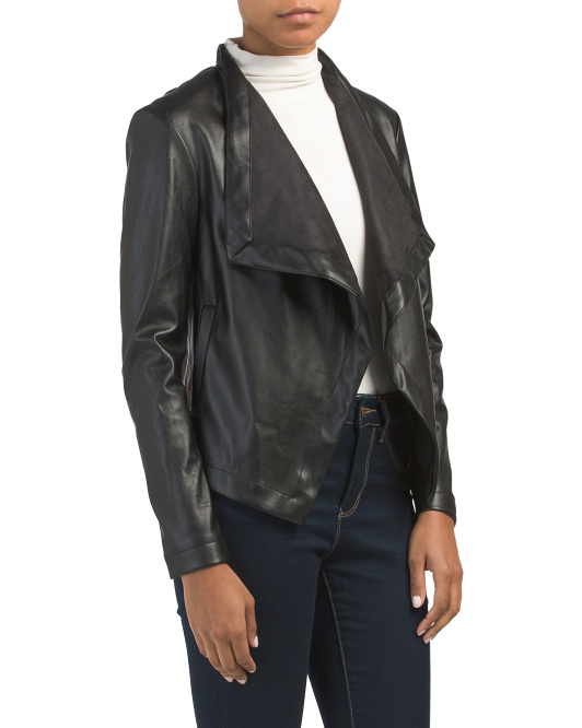 Juniors Peppin Faux Leather Drape Jacket