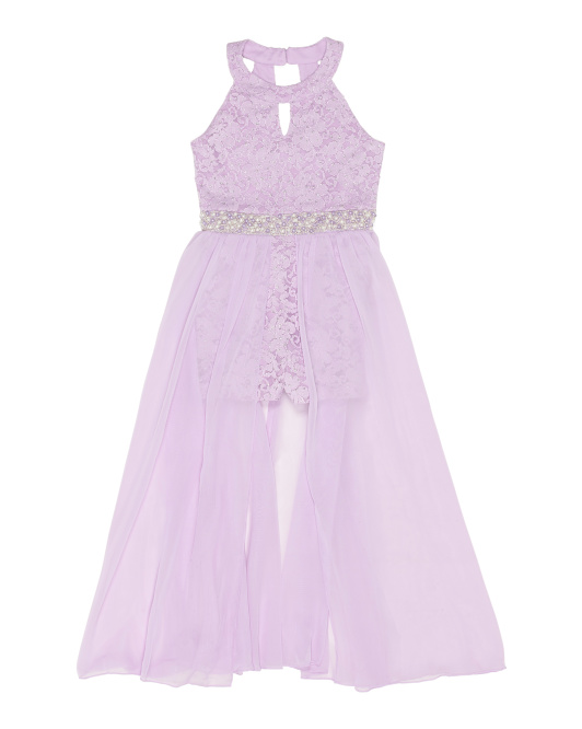 Big Girls Glitter Lace Romper With Skirt