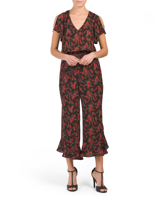 Juniors Gigli Cropped Floral Jumpsuit