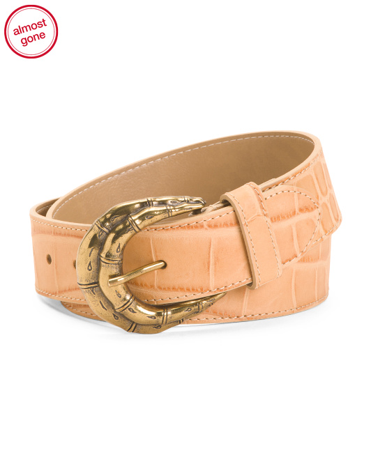 Made In Italy Leather Croco Belt
