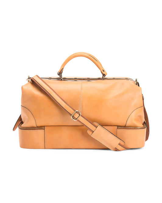 Made In Italy Frame Leather Weekender