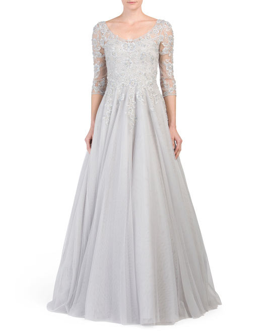 Sheer Sleeve Embroidered Lace Gown