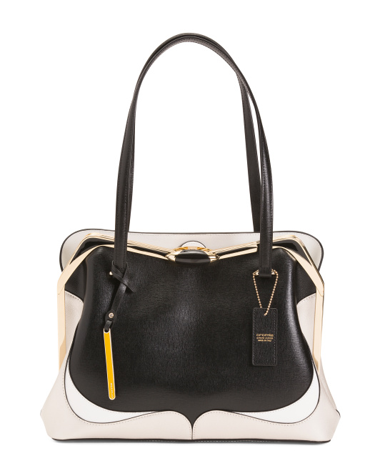 Made In Italy Leather Colorblock Shopper Bag