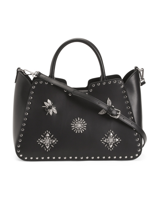 Made In Italy Rhinestone Leather Satchel