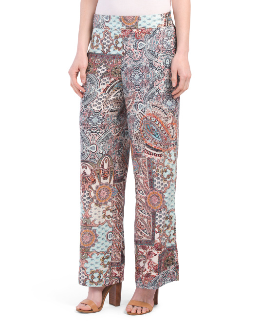 Printed Boho Wide Leg Pants