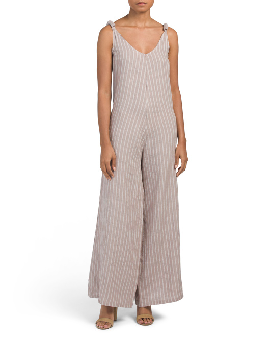 Made In Italy Gaucho Linen Jumpsuit