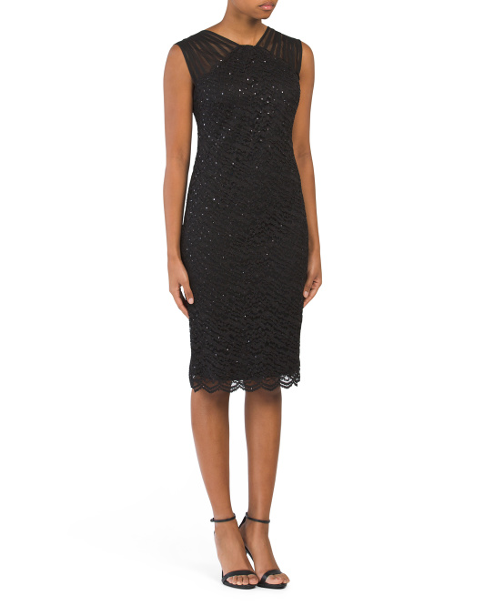 Petite Lace Dress With Mesh Shoulders