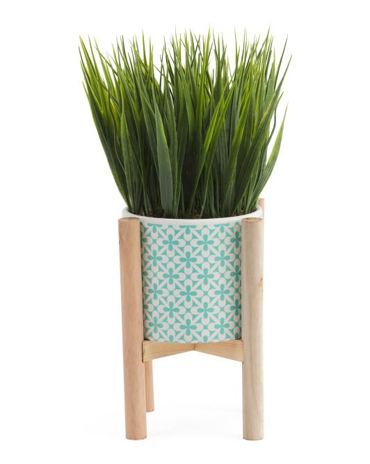 11in Faux Grass In Ceramic Pot With Stand