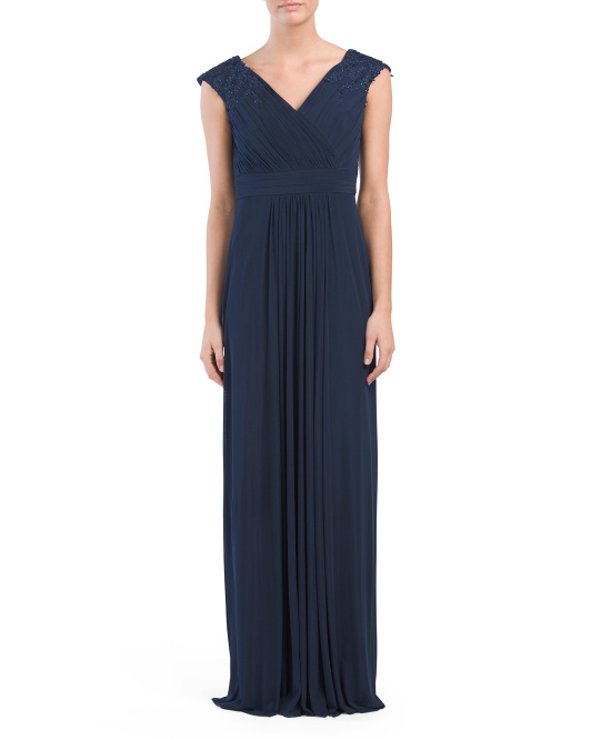 Embroidered Shoulder Jersey Gown