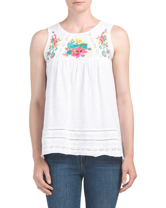 Embroidered Front Lace Detail Tank
