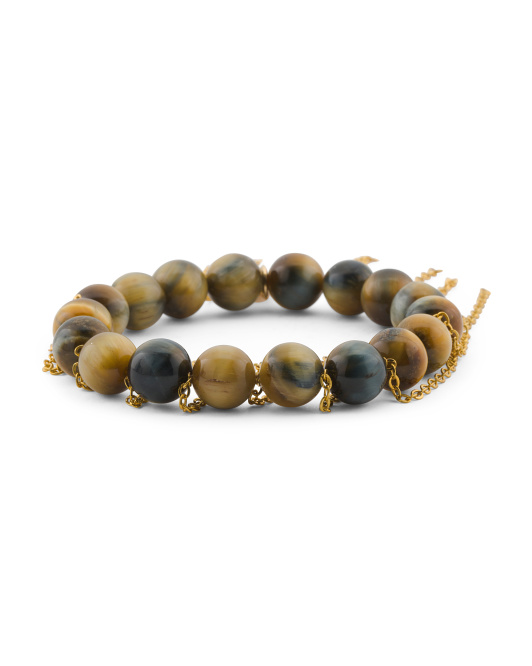 Handcrafted In California Tigers Eye Chain Bracelet