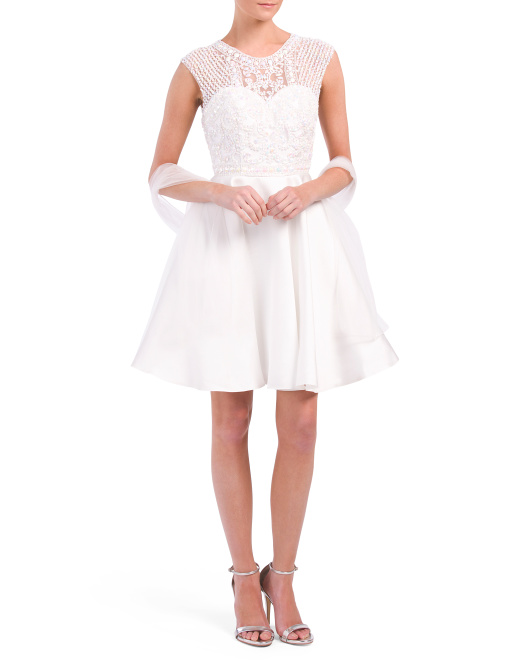 Petite Beaded Lace Bodice Dress