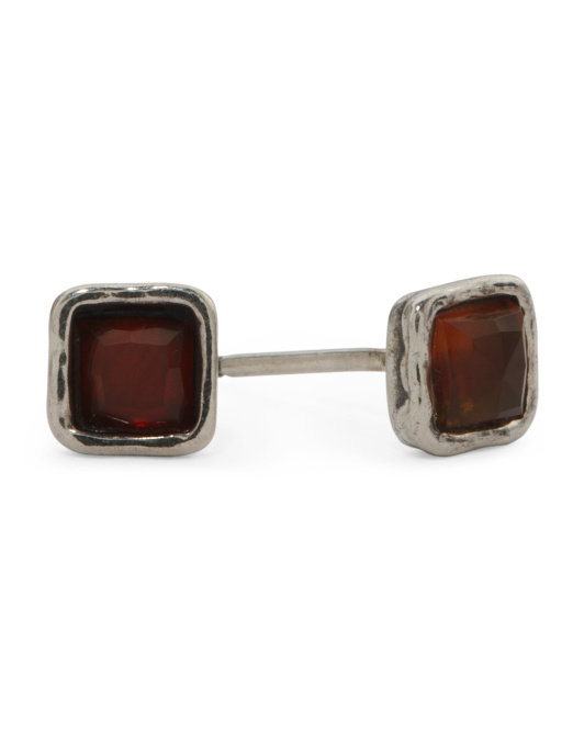 Made In Israel Sterling Silver Carnelian Stud Earrings