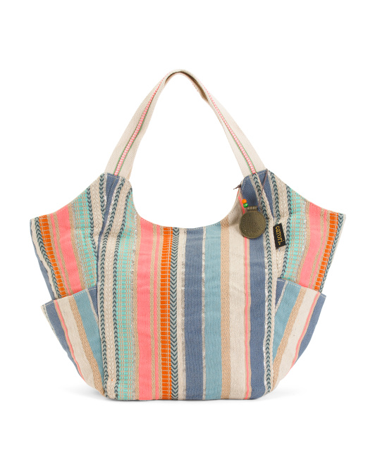 Anila Stripe Fabric Scoop Tote