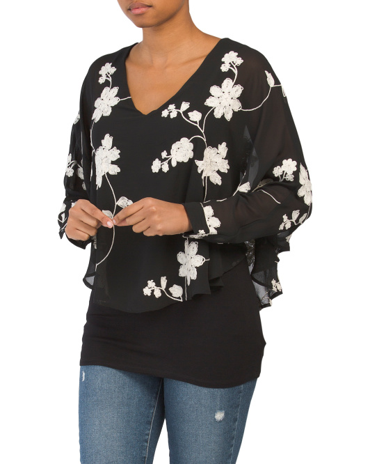 Embroidered Floral Batwing Top