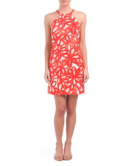 Printed Ponte Halter Sheath Dress