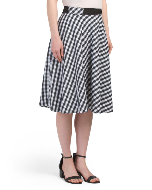 Petite Gingham A-line Skirt