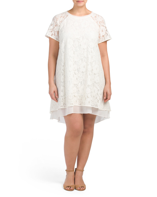 Plus Lace Dress With Chiffon