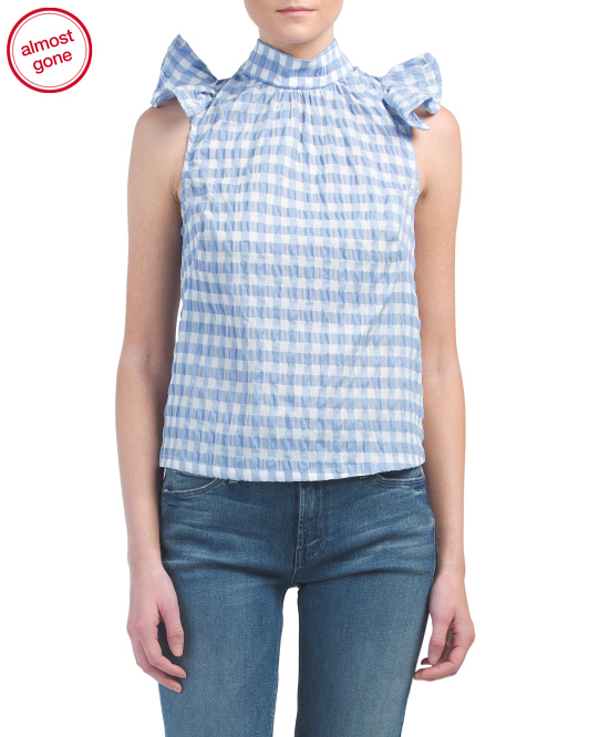 Made In USA Gingham Maden Ruffled Top