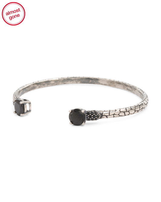 Made In Italy Sterling Silver Black Spinel Open Cuff Bracelet