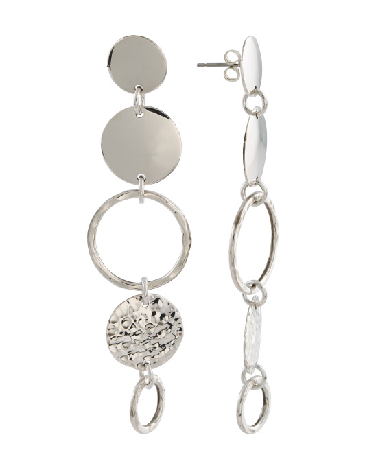 Made In Mexico Sterling Silver Multi Disc Linear Earrings