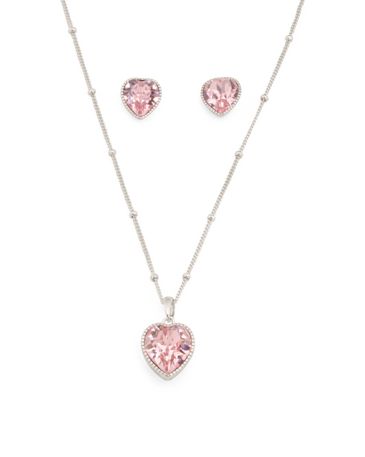 Sterling Silver Swarovski Crystal Heart Set