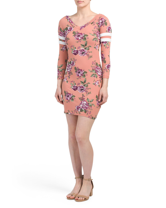 Juniors Printed Floral Dress
