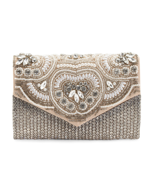 Crystal And Pearl Clutch