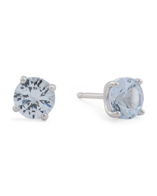 Made In Italy Sterling Silver Blue CZ Stud Earrings