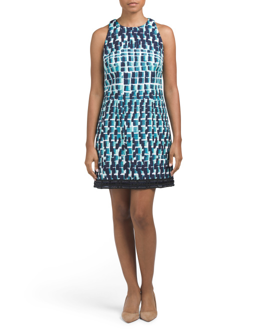 Cloque Cocktail Dress With Beaded Hem