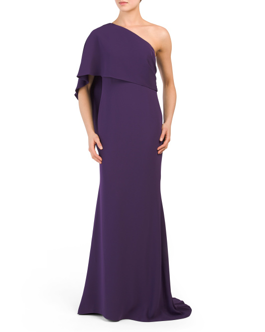 One Shoulder Capelet Gown
