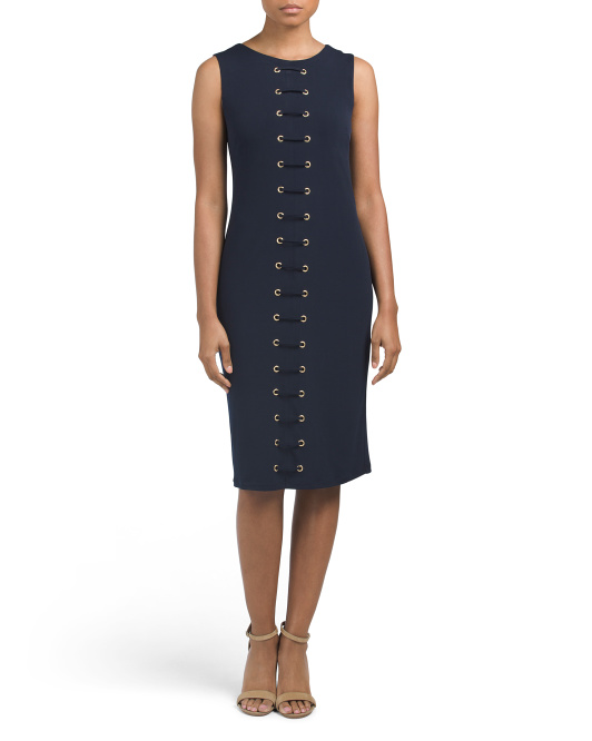 Sleeveless Midi Dress With Grommets
