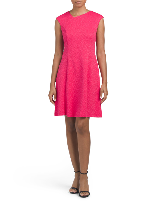 Textured Asymmetrical Fit And Flare Dress