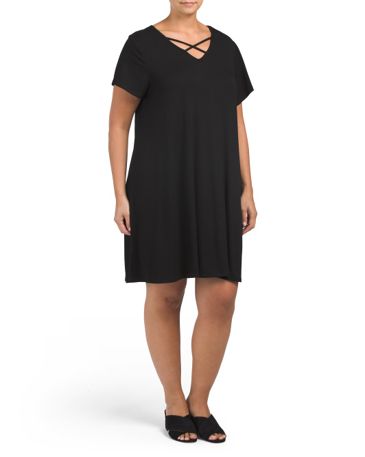 Plus Cross Neck Dress